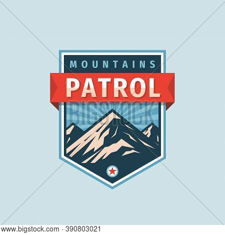 Mountains Patrol - Concept Badge. Climbing Logo In Flat Style. Extreme Exploration Sticker Symbol.