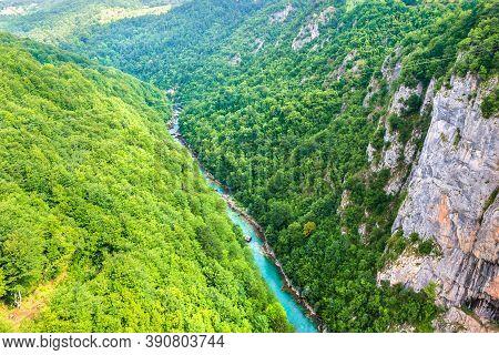 Zip Line Over Tara River In Mountains Of Durmitor, Montenegro