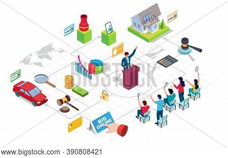 Auction And Bidding Flowchart, Vector Isometric Infographic. Mobile Bidding.