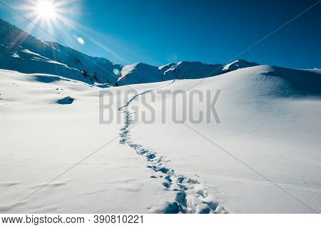 Panoramic View Of The Snow Covered Field After A Blizzard. Human Pathway In A Fresh Snow. Missing On