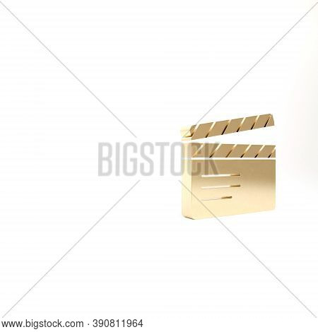 Gold Movie Clapper Icon Isolated On White Background. Film Clapper Board. Clapperboard Sign. Cinema