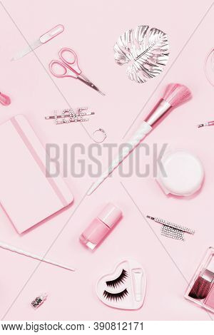 Tender Pink Monochrome Feminine Makeup Tools And Silver Accessories. Brushes Eye Lashes Vanish On Ca