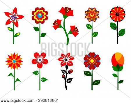 Set Of Stylized Flowers.  Set Of Stylized Flowers Collection. Various Stylized Flowers Isolated On W