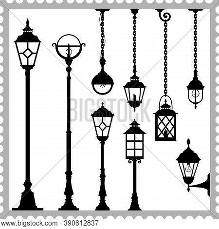 Set Of Lanterns Silhouettes. Vintage Street Light. Black Silhouettes Of The Retro Lanterns On A Whit