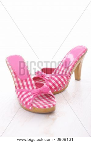Sexy Pink Shoes Over White Background