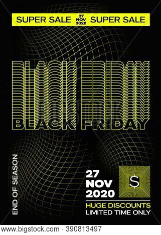 Black Friday Yellow Typography Banner, Poster Or Flayer Template. Creative Fading Grid Background Co
