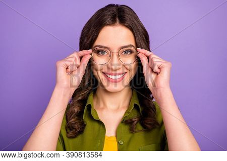 Close Up Photo Of Nice Lady Girl High School Student Touch Specs See Season Sales Discount Wear Casu