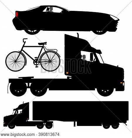 Set Of Different Transport Silhouettes. Black Truck Silhouette Isolated On White Background. Bicycle