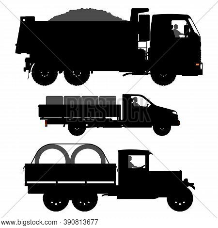 Set Of Transport Silhouettes. Black Truck Silhouette Isolated On White Background. Old Truck Images.