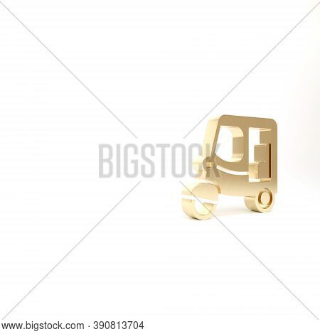 Gold Taxi Tuk Tuk Icon Isolated On White Background. Indian Auto Rickshaw Concept. Delhi Auto. 3d Il