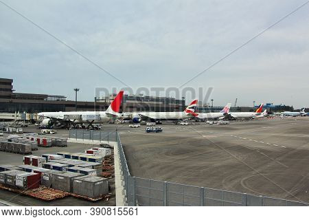 Tokyo, Japan - 10 Nov 2013: The Airplane Of Japan Airlines In The Airport, Tokio, Japan