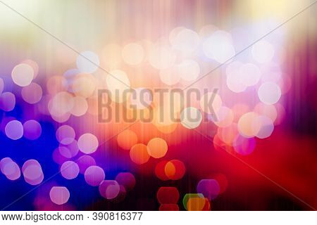 Christmas Lights. Gold Holiday New Year Abstract Glitter Defocused Background With Blinking Stars An
