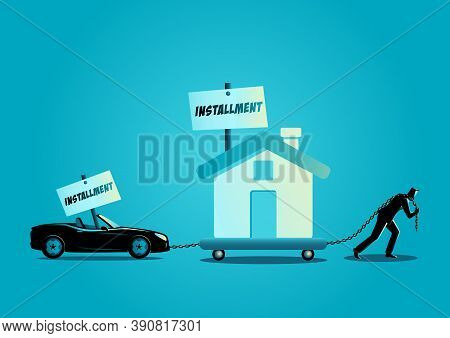 Business Concept Vector Illustration Of A Businessman Dragging A House And A Convertible Car. Financ