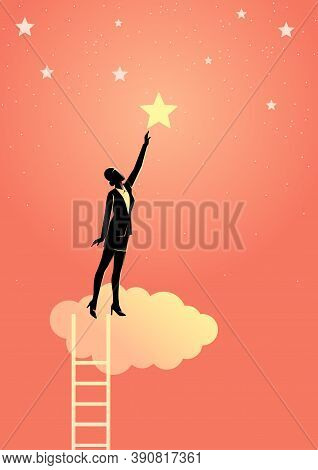 Business Concept Vector Illustration Of A Businesswoman Reach Out For The Star