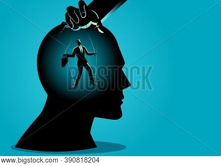 Business Concept Vector Illustration Of A Puppet Master Controls Mind