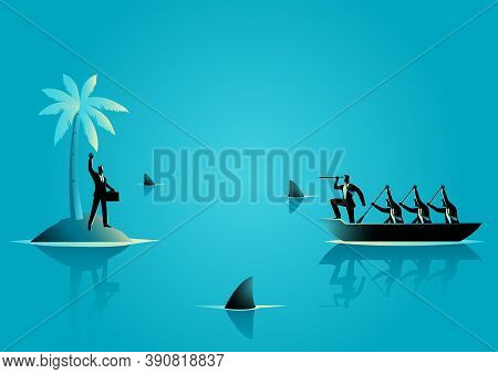 Business Concept Vector Illustration Of A Businessman Get Stuck On Island With Water Full Of Shark,