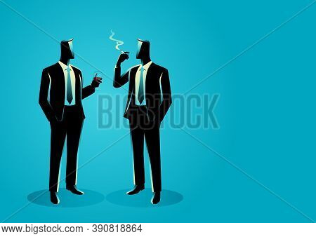 Business Concept Vector Illustration Of Businessmen Casually Talking With Each Other, Lobbying Conce