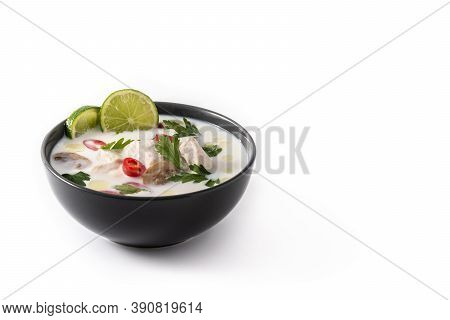 Traditional Thai Food Tom Kha Gai In Bowl Isolated On White Background. Copy Space