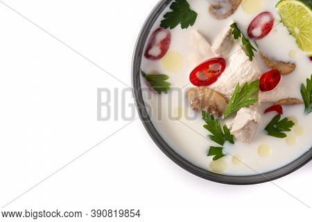 Traditional Thai Food Tom Kha Gai In Bowl Isolated On White Background.top View. Copy Space