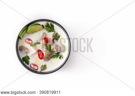Traditional Thai Food Tom Kha Gai In Bowl Isolated On White Background. Top View. Copy Space