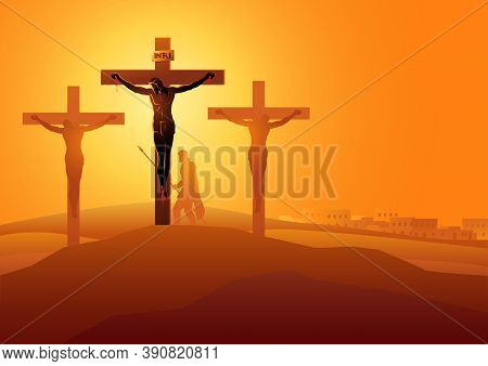 Biblical Vector Illustration Series. Way Of The Cross Or Stations Of The Cross, Twelfth Station, Jes