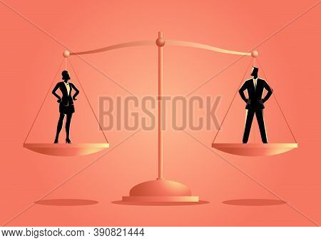 Business Concept Vector Illustration Of A Businesswoman And Businessman On A Scale. Emancipation Con