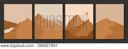Abstract Contemporary Aesthetic Posters With Landscape, Desert, Sand Dunes, Sun, Moon. Boho Wall Dec