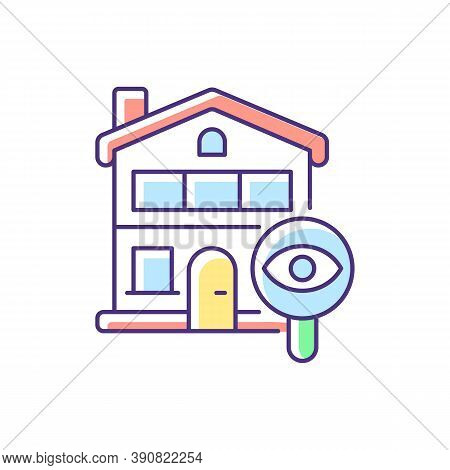 Home Tour Rgb Color Icon. Search For Housing. Look For Home. Residential Property. Discover Real Est