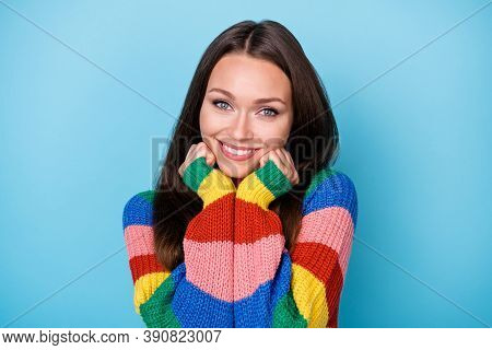 Close-up Portrait Of Her She Nice Attractive Cheerful Cheery Cute Sweet Girl Enjoying Soft Clothes W