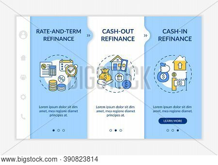 Loan Borrowing Types Onboarding Vector Template. Cash-out. Rate-and-term. Cash-in Refinance. Respons