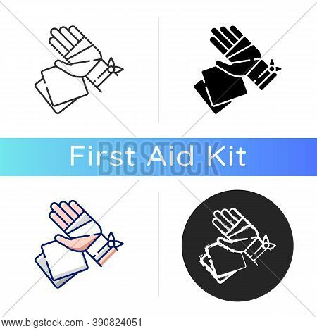 Gauze Bandages And Pads Icon. Adhesive Wrap For Hand Injury. Joint Trauma Aid. Damaged Wrist Hospita