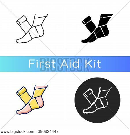 Elastic Bandage Icon. Suffer From Injury. Hurt Foot. Join Trauma Treatment. Medical Equipment To Hel