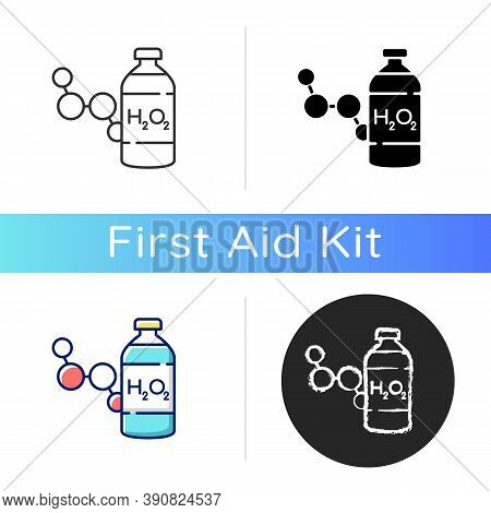 Hydrogen Peroxide Icon. Medical Cleanser To Treat Wound. First Aid Medication. Fluid Concentrated Me