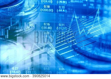 Stock Market Investment Trading Financial, Coin And Graph Chart Or Forex For Analyze Profit Finance