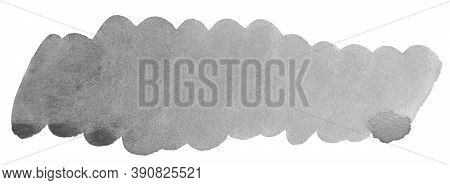 Gray Oblong Block Drawn With Watercolor Paint With Uneven Edges, Brush Strokes. Ready-made Frame For