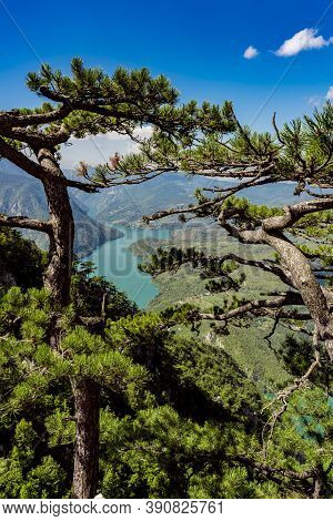 View At Perucac Lake And River Drina From Tara Mountain In Serbia