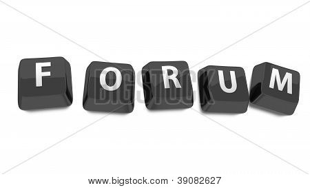 Forum Written In White On Black Computer Keys. 3D Illustration. Isolated Background.