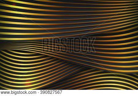 Dynamic Wavy Gold Lines Background. Black And Gold Luxury Elegant Background.
