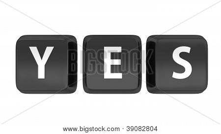 Yes Written In White On Black Computer Keys. 3D Illustration. Isolated Background.