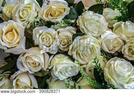 A Beautiful Bouquet Of Fresh White Roses