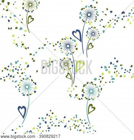 Dandelion Flowers Original Vector Seamless Pattern. Wrapping Print Design. Elegant Dandelion Blowing