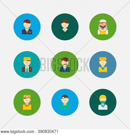Occupation Icons Set. Office Boss And Occupation Icons With Safety Worker, Nurse And Arab Worker. Se
