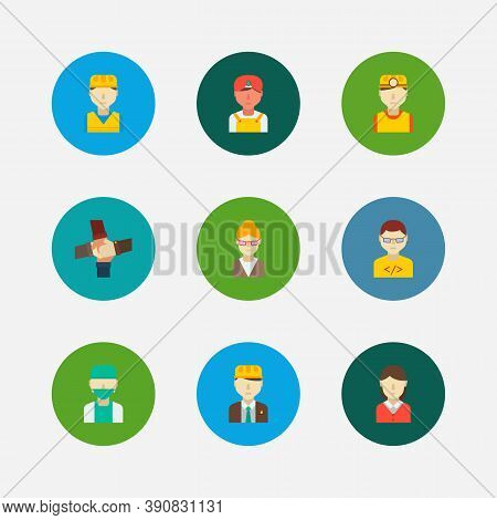 Occupation Icons Set. Indian Worker And Occupation Icons With Teamwork, Construction Worker And Comp