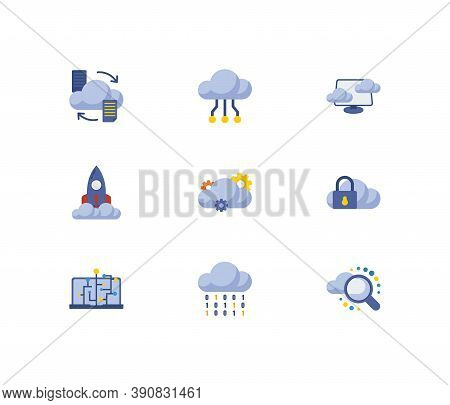 Cloud Technology Icons Set. Search And Cloud Technology Icons With Virtual Machine, Cloud Code And C