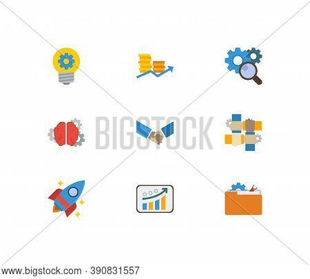 Partnership Icons Set. Handshake And Partnership Icons With Partnership, Finance And Research. Set O