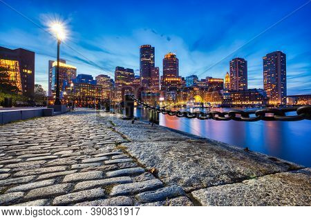 Boston Skyline With Financial District And Boston Harbor At Dusk, Usa