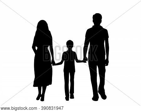 Silhouettes Father Mother And Son From Back Walking Forward Holding Hands. Illustration Graphics Ico