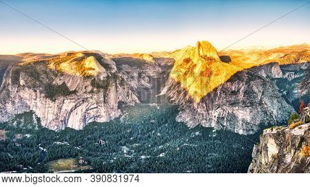 Yosemite Valley With Illuminated Half Dome At Sunset, View From Glacier Point, Yosemite National Par