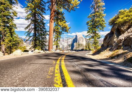 Yosemite Valley Road To Glacier Point With Half Dome At Background During A Sunny Day, Yosemite Nati