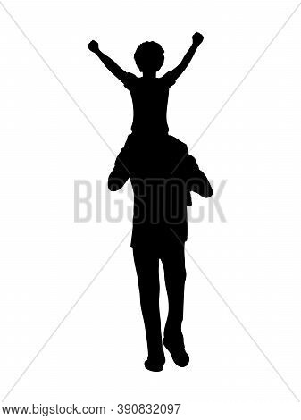 Silhouette Father Walking With His Son On His Shoulders From Back. Illustration Graphics Icon Vector